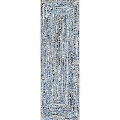 Otelia Solid Jute Denim 3 ft. x 8 ft. Runner