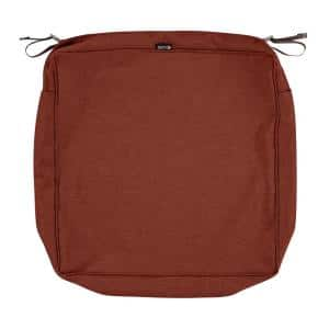 Montlake FadeSafe 19 in. W x 19 in. D x 5 in. H Square Patio Lounge Seat Cushion Slip Cover in Heather Henna Red