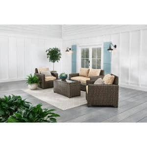 Laguna Point 4-Piece Brown Wicker Outdoor Patio Deep Seating Set with CushionGuard Toffee Trellis Tan Cushions