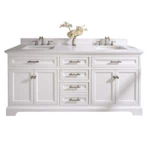Thompson 72 in. W x 22 in. D Bath Vanity in White with Engineered Stone Vanity Top in Carrara White with White Basins