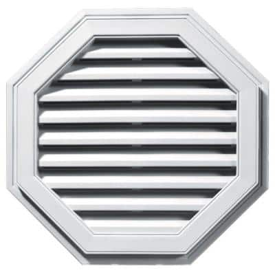 27 in. x 27 in. Octagon White Plastic Built-in Screen Gable Louver Vent