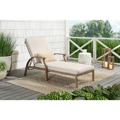 Geneva Brown Wicker Outdoor Patio Chaise Lounge with CushionGuard Almond Tan Cushions