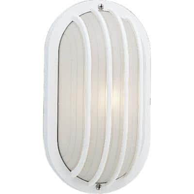 1-Light 5.9 in. Outdoor White Wall Lantern