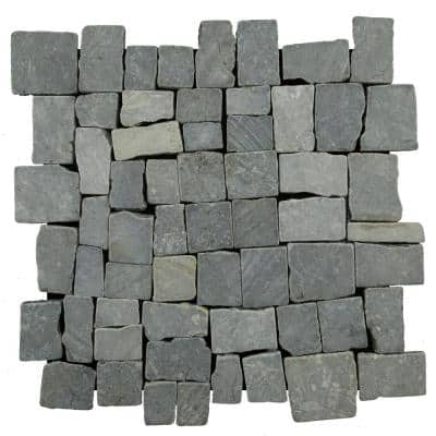 Block Mosiac Tile Grey 11-3/4 in. x 11-3/4 in. x 9.5 mm Indonesian Marble Mesh-Mounted Mosaic Tile (10.659 sq. ft./case)