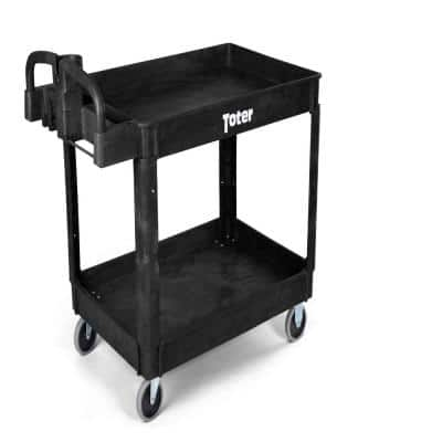 550 lbs. Capacity 43.7 in. x 25.6 in. x 33.5 in Black Plastic 2-Tier 4-Wheeled Lipped Top Ergonomic Handle Utility Cart