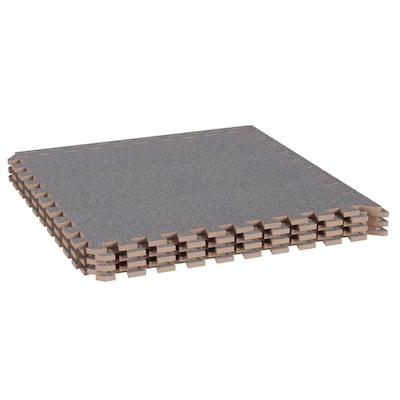 24 in. x 24 in. Gray Foam Mat Interlocking FloorTiles w/ EVA Foam Padding for Exercise/Playroom/Garage/Basement Flooring