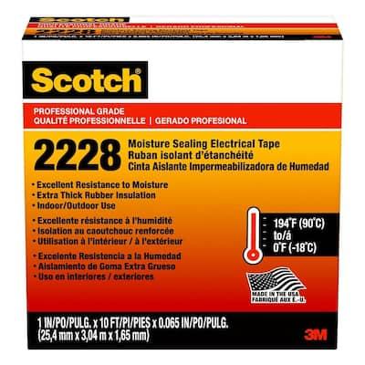 Scotch 1 in. x 10 ft. x 0.065 in. 2228 Rubber Mastic Electrical Tape, Black