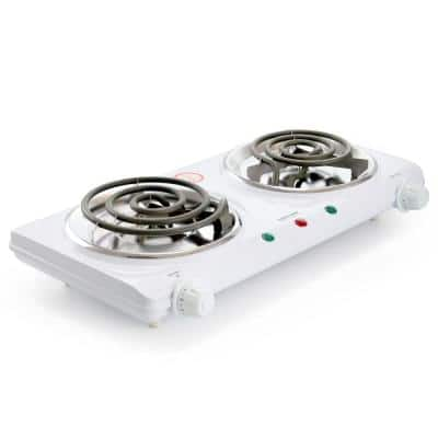 2-Burner 9 in. White Electric Countertop Hot Plate