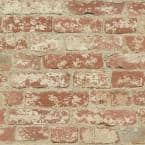 Stuccoed Red Brick Peel and Stick Wallpaper (Covers 28.18 sq. ft.)