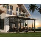 Gala 10 ft. x 18 ft. Brown/Bronze Super Durable Aluminum Patio Cover Awnings with Roman Columns