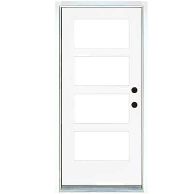 36 in. x 80 in. Smooth White Left-Hand Inswing Full-Lite 4-Lite SDL Low-E Finished Fiberglass Prehung Front Door