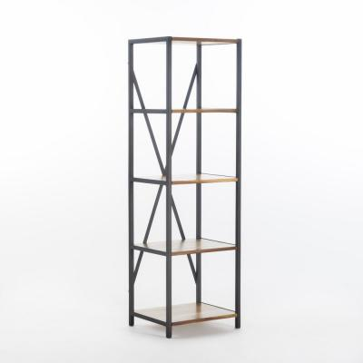 Roney 56.50 in. Natural Stained Wood 4-Shelf Etagere Bookcase
