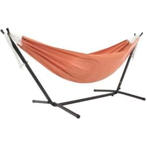 9 ft. Sunbrella Hammock Bed with Space Saving Steel Stand in Coral