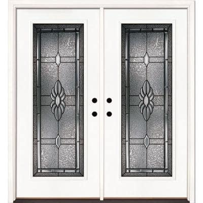 66 in. x 81.625 in. Sapphire Patina Full Lite Unfinished Smooth Right-Hand Inswing Fiberglass Double Prehung Front Door