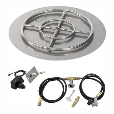 24 in. Round Stainless Steel Flat Pan with Spark Ignition Kit - Propane (18 in. Ring Burner Included)