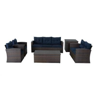 Brown 5-Pieces Wicker Patio Conversation Set with Navy Blue Cushions