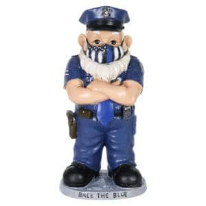 Hand Painted Policeman Wearing a Mask Garden Statue