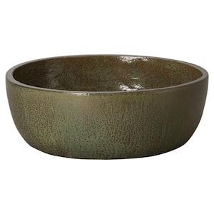 22 in. Shallow Metallic Green Round Ceramic Planter