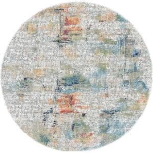 Global Vintage Ivory/Multicolor 4 ft. x 4 ft. Oriental Contemporary Round Area Rug