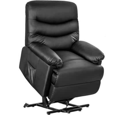 Black Mechanism Power and Lift PU leather Recliner Chair Home Theater Seating