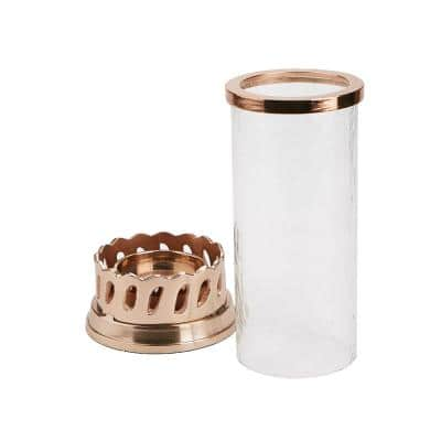 Clear Candle Pillar Holder with Rose Gold Base and Trim Removable Glass Cylinder Hurricane Candle Holder Home Decor