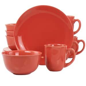 Mercer 12-Piece Red Round Stoneware Dinnerware Set