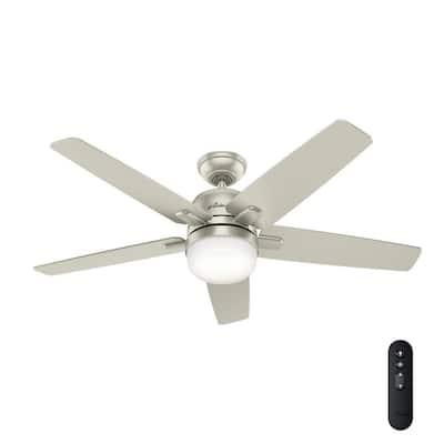 Cavera II 52 in. Indoor Matte Nickel Wifi-Enabled Smart Ceiling Fan with Light Kit & Remote