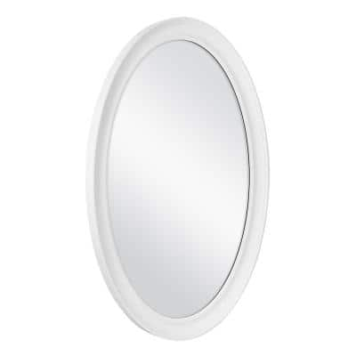 21 in. W x 31 in. H Framed Oval Anti-Fog Bathroom Vanity Mirror in White Finish
