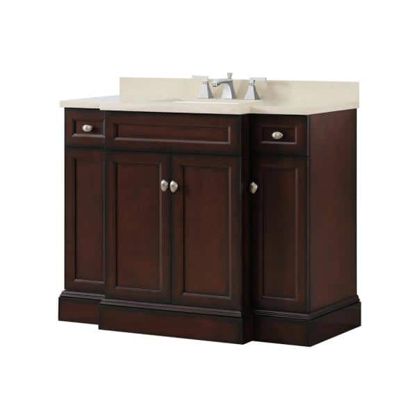 Home Decorators Collection Teagen 42 In W Bath Vanity In Dark Espresso With Cultured Stone Vanity Top In Beige With White Basin Teagen 42eb The Home Depot