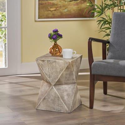 Waylon Light Grey Stone Outdoor Accent Table