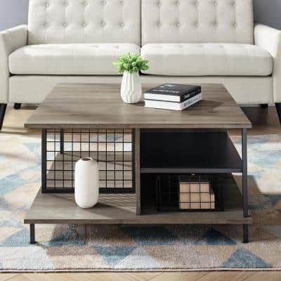 30 in. Gray Wash Medium Square MDF Coffee Table with Shelf
