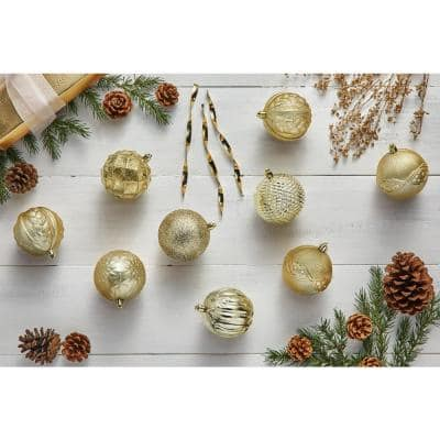 Holiday Traditions 3.15 in. Gold Shatterproof Ornament (60-Count)