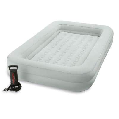 66 in. L x 42 in. W x 10 in. H Kids Twin Inflatable Raised Frame Travel Air Mattress with Hand Pump
