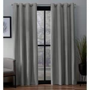 Dove Grey Woven Thermal Blackout Curtain - 52 in. W x 63 in. L (Set of 2)