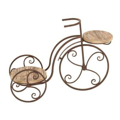 19 in. Brown Fir Wood Vintage Bicycle-Inspired Indoor Plant Stand