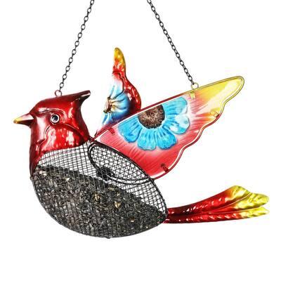 Cardinal Mesh Basket Metal Bird Feeder