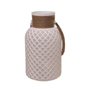 12.25 in. White Diamond Texture Decorative Glass Pillar Candle Holder Lantern with Handle