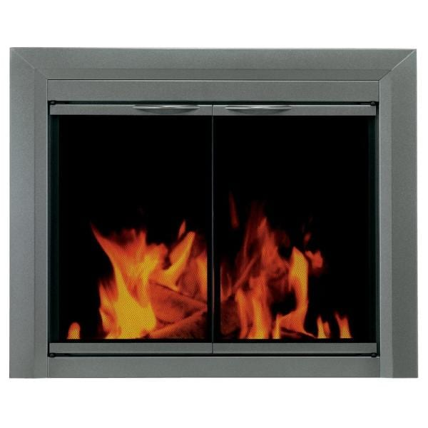 Pleasant Hearth Craton Medium Glass Fireplace Doors Cr 3401 The Home Depot