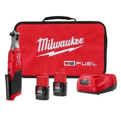 M12 FUEL 12-Volt Lithium-Ion Brushless Cordless High Speed 3/8 in. Ratchet Kit w/(2) Batteries, Charger and Bag