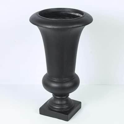 Small Black Fiberclay Urn Planter