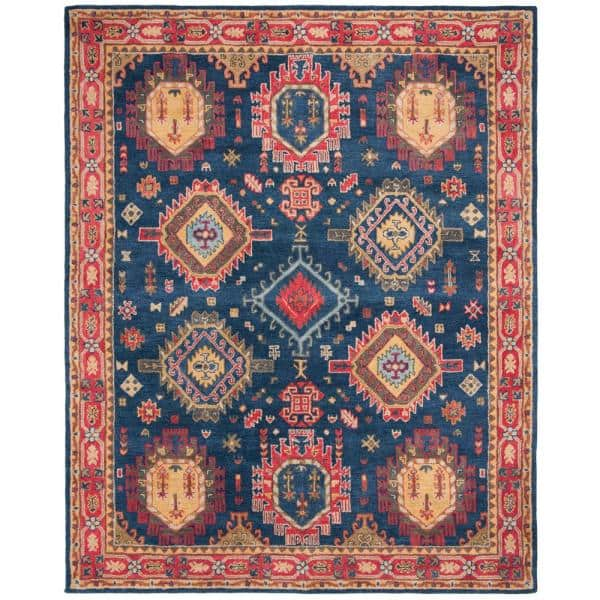 Safavieh Heritage Navy Red 8 Ft X 10 Ft Area Rug Hg426n 8 The Home Depot