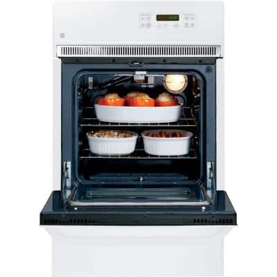 24 in. Single Gas Wall Oven Self-Cleaning in White