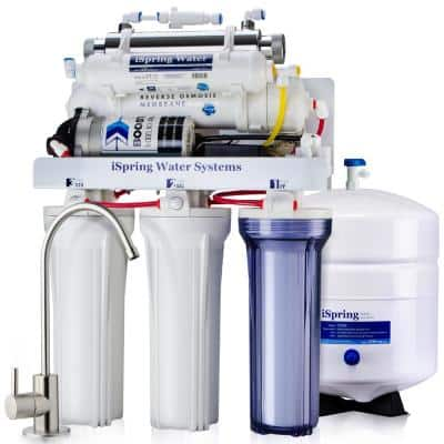 6-Stage Under Sink Reverse Osmosis Drinking Water Filtration System with Booster Pump and UV Filter, 100GPD