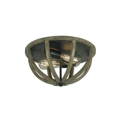 Allier 13 in. W. 2-Light Metal Painted Weathered Oak Wood/Antique Forged Iron Flush Mount