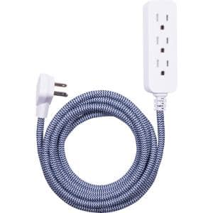 10 ft. 3-Outlet Extension Cord in Navy/White