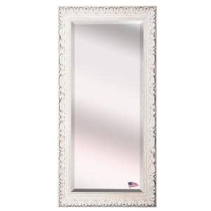 Oversized Antiqued White Wood Beveled Glass Modern Mirror (71 in. H X 30.5 in. W)