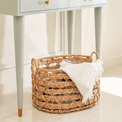 Camila Large Oval Hand-woven Water Hyacinth Storage Decorative Basket