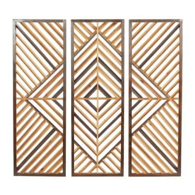 35 in. x 12 in. Brown Wood Contemporary Wall Decor (Set of 3)