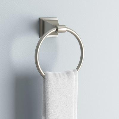 Leonard Collection Towel Ring in Satin Nickel