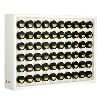 White Wood Spice Rack with 60 Jars